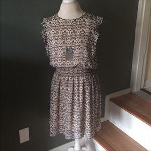 Mossimo cream and khaki print skater dress m
